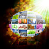 Television with globe internet production technology concept Stock Image