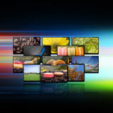Television with globe internet production technology concept Royalty Free Stock Photos