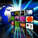 Television with globe internet production technology concept Stock Images