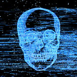 Television horror channel. Broken television picture, scary blue skull on television, scratches on the screen Royalty Free Stock Image