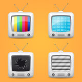 Television icons set Stock Images