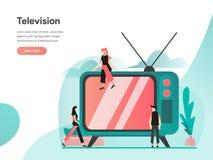 Television Illustration Concept. Modern flat design concept of web page design for website and mobile website.Vector illustration royalty free illustration