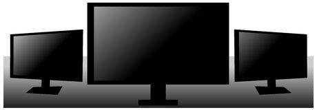 Set of Televisions in black isolated Stock Photos
