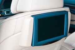 Television inside a car. Television inside a luxury car stock image