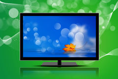 Television isolated on a green background Royalty Free Stock Image