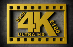 Television 4k resolution technology. Concept on gray concrete wall. Gold color Stock Illustration