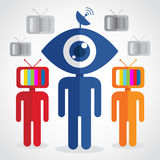 Television Man. Digital head , networking vision Royalty Free Stock Image