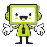 Television mascot the direction of pointing with both hands. App Stock Photo