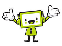 Television mascot the direction of pointing with both hands. App Royalty Free Stock Photography