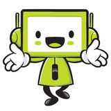 Television mascot the direction of pointing with both hands. App Stock Images