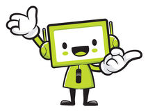 Television mascot the direction of pointing with both hands. App Royalty Free Stock Image
