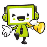 Television Mascot the hand is holding a loudspeaker. Appliances Royalty Free Stock Image