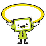 The Television Mascot holding a big board with both hands. Appli Stock Photography