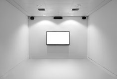 Empty Television Media Room. Empty white room with television and audio speakers Stock Photos