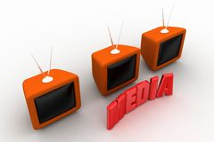 Television with media text Stock Image