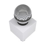 Television microphone with blank advertising cube. A television microphone with blank advertising cube. Isolated render on a white background Royalty Free Stock Photo