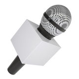 Television microphone with blank advertising cube. A television microphone with blank advertising cube. Isolated render on a white background Royalty Free Stock Photography
