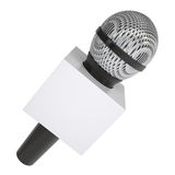 Television microphone with blank advertising cube Stock Images