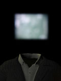 Television Mind. Empty Suit with glowing television or monitor Stock Photos