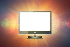 Television. Modern black flat screen tv with white empty screen on modern dark background stock images