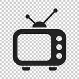 Television monitor in flat style. Tv screen illustration on isol. Ated transparent background. Tv show concept Royalty Free Stock Photography