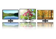 Television monitors isolated on white background. Flat high definition TV. Television monitors isolated on white background. TV monitors showing images of nature royalty free illustration