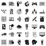 Television network icons set, simple style. Television network icons set. Simple set of 36 television network vector icons for web isolated on white background Royalty Free Stock Photography