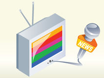 Television news. Television and news microphone vector icon vector illustration