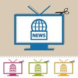 Television News On Air With Scissor And Cut Line - Colorful Vector Illustration - Isolated On White stock illustration