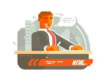 Television news presenter. Man said on air. illustration royalty free illustration