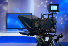 Television NEWS studio with camera Royalty Free Stock Photos