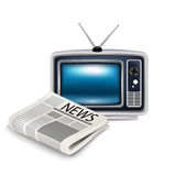 Television and newspaper isolated Royalty Free Stock Images