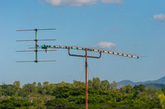 Television Old-style antenna. On the roof, taken from Kanchanaburi, Thailand Stock Photography