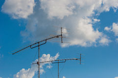 Television Old-style antenna. On the roof, taken from Kanchanaburi, Thailand Royalty Free Stock Photo
