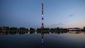 Television (Ostankino) tower at Night, Moscow, Russia stock footage