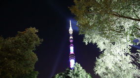 Television (Ostankino) tower at Night, Moscow, Russia stock video