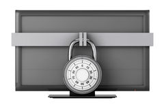 Television with Padlock Royalty Free Stock Photos