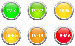 Television Parental Guidelines Buttons Royalty Free Stock Photo