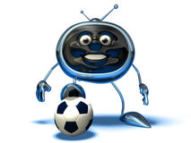 Television playing football Stock Images