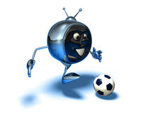 Television playing football Royalty Free Stock Images