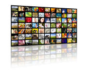 Television production concept. TV movie panels. LCD TV panels. Television production technology concept stock photo
