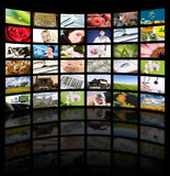 Television production concept. TV movie panels. LCD TV panels. Television production technology concept stock image