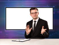 Television program host with big copy screen in his back. Concept Stock Image