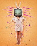 Television propaganda art collage. Contemporary art collage, addicted woman hands on hips and old tv instead of head. Modern style poster zine culture concept royalty free stock image