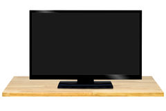 Television put on wood shelf Royalty Free Stock Image