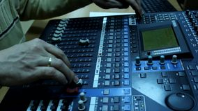 Television radio audio mixer board stock footage