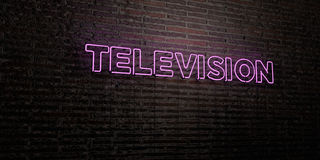 TELEVISION -Realistic Neon Sign on Brick Wall background - 3D rendered royalty free stock image Royalty Free Stock Images