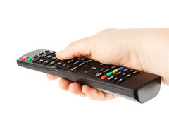 Television receiver Remote controller in a hand. Royalty Free Stock Photos