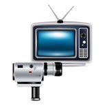 Television and recording camera isolated Royalty Free Stock Images