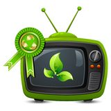 Television with Recycle Badge Royalty Free Stock Images